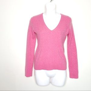 J. Crew Pink Cashmere Cable Knit V-Neck Sweater S